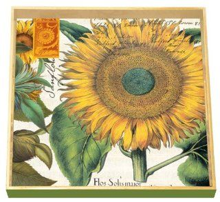 Michel Design Works 12 1/2 Inch Square Decoupage Square Wooden Tray, Sunflower   Vanity Trays