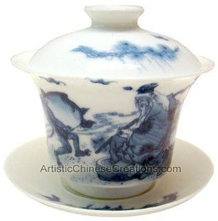 Chinese Tea / Chinese Tea Ware / Chinese Gifts   Premium Chinese Porcelain Tea Cup (With Lid & Saucer)   Longevity   Tea Services