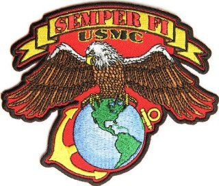 Small USMC Eagle Patch in Red, 5x4.5 inch, large embroidered iron on military patch