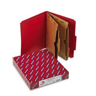 Smead Six Section Pressboard Top Tab Pocket Style Classification Folders with SafeSHIELD Coated Fastener   Pressboard Folders, Two Pocket Dividers, Letter, Six Section, Bright Red, 10/Box: Health & Personal Care