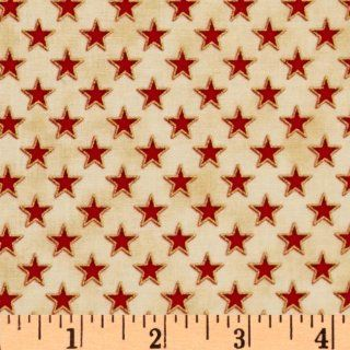 44'' Wide People's House Stars Red/Natural Fabric By The Yard