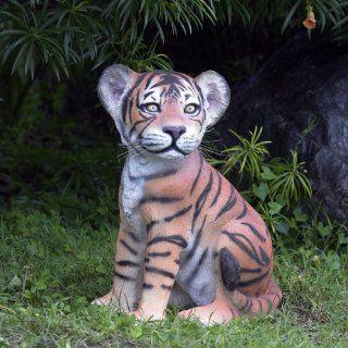 The Grand Scale Wildlife Animal Sitting Tiger Cub Statue  Outdoor Statues  Patio, Lawn & Garden