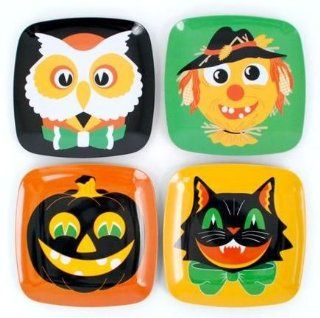Halloween Vintage Retro Style Plates with Owl, Cat Pumpkin, Set of 4, Melamine Kitchen & Dining