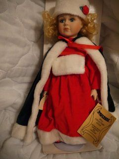 Seymour Mann Porcelain Doll   Red Winter Christmas   Home Decor Collectible Dolls