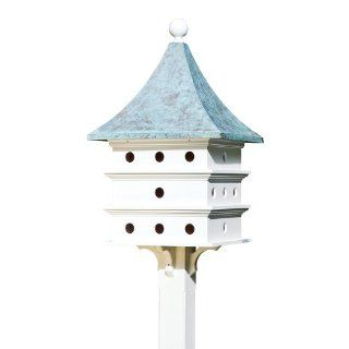 Lazy Hill Farm Designs 43426 Ultimate Martin Bird House White Solid Cellular Vinyl with Blue Verde Copper Roof, 24 Compartments, 23 Inch by 44 Inch  Patio, Lawn & Garden