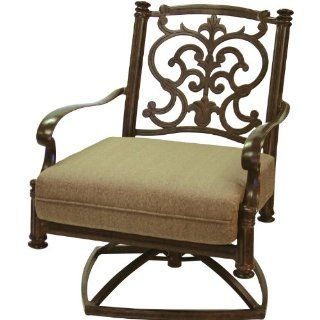 Darlee Santa Barbara Cast Aluminum Deep Seating Patio Swivel Rocker Lounge Chair   Antique Bronze  Patio, Lawn & Garden