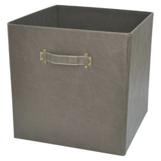 Threshold 13in Foldable Faux Leather Storage Bin   Set of 2   Hot Coffee