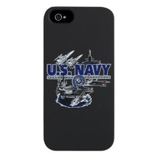 iPhone 5 or 5S Case Black US Navy with Aircraft Carrier Planes Submarine and Emblem