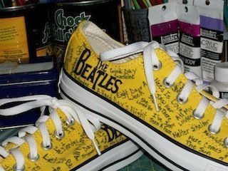 Converse Hand Painted All Star Beatles Custom Canvas Sneakers Baby