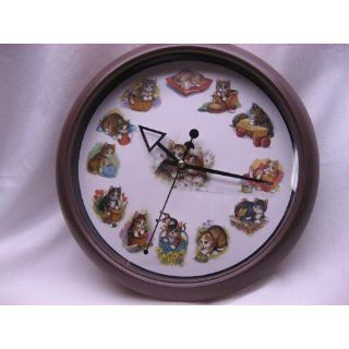 KITTENS WALL CLOCK with MOUSE MINUTE HAND