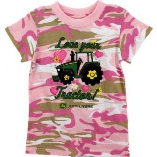 """John Deere Girls """"Love Your Tractor"""" Camo T Shirt Clothing"""