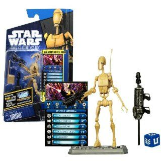 Hasbro Year 2010 Star Wars The Clone Wars Galactic Battle Game Series 4 Inch Tall Action Figure   CW19 BATTLE DROID with Radio Pack, Blaster, Missile Launcher with 1 Missile, Battle Game Card, Die and Figure Display Base Electronics