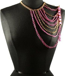 Fashion Jewelry ~ Fuchsia Pink and Goldtone Decorated Spikes Chest Shoulder Body Chain (Style UN8A687GDFSH MWR): Jewelry