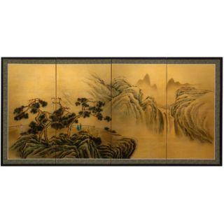 Oriental Furniture Mountaintop Waterfall on Gold Leaf Wall Art