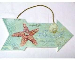 "Beach Sign with Starfish and Shells   Beach House or Cottage Decor   Ocean   13"" X 6""   New   Decorative Plaques"