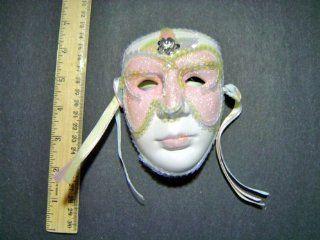 Ceramic Mardi Gras Face Mask for Wall   204 Pink  Decorative Masks