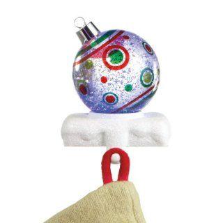 """7"""" LED Lighted Festive Dot Christmas Ball Ornament Glitterdome Stocking Hanger   Christmas Stocking Holders"""