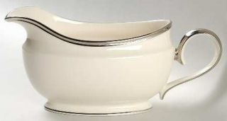 Lenox China Solitaire Gravy Boat, Fine China Dinnerware   Dimension Shape, Plati
