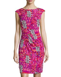 Geometric Floral Draped Jersey Dress, Fuchsia/Orange