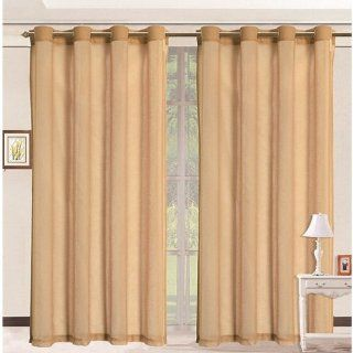 HLC.ME Pair of Gold Sheer Curtain Grommet Panels   54 by 84 Inch   Window Treatment Sheers