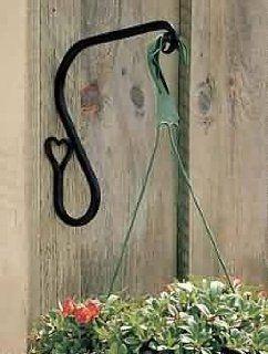 """Plant Hangers Black Wrought Iron, Heart Plant, 7"""" high projects 9""""  21293   Plant Hooks"""