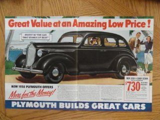 """1938 Plymouth 4 door sedan $730. Vintage 30's full page centerfold 13 1/2""""x 20 1/2"""" print ad. (painting, woman in black car/man woman walking with dog.) original vintage 1938 Collier's Magazine Print Art."""