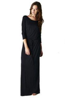 On Trend Women's Jersey Knit Long Maxi Dress Drawstring Belt (3XL, Navy) at  Women�s Clothing store
