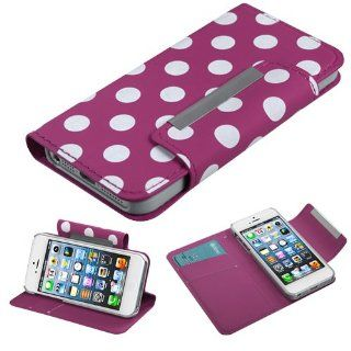 Fits Apple iPhone 5 Hard Plastic Snap on Cover White Polka Dots /Hot Pink Frosted Book Style MyJacket Wallet (with card slot) (758) AT&T, Cricket, Sprint, Verizon (does NOT fit Apple iPhone or iPhone 3G/3GS or iPhone 4/4S) Cell Phones & Accessorie