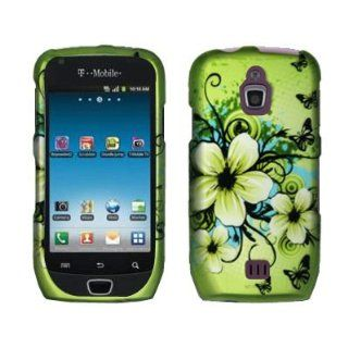 EMPIRE Green Hawaiian Flowers Design Hard Case Cover for T Mobile Samsung Exhibit 4G T759: Cell Phones & Accessories