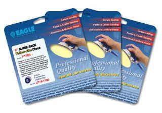 Eagle U778 1500   6 inch SUPER TACK Yellow Film Discs   Grit P1500   (Job Pak)   5 Discs/Pack   1 Pack   Sandpaper Sheets