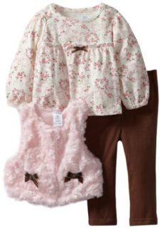 Vitamins Baby Baby Girls Infant Floral Print Shirt Three Piece Vest Set Clothing