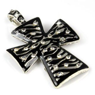 Huan Xun Enamel Cross Pendant Charm for Diy Necklace and Scarves Black Jewelry