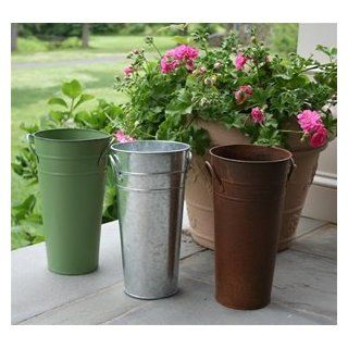 "Mini Galvanized French Flower Bucket 7"" : Planters : Patio, Lawn & Garden"