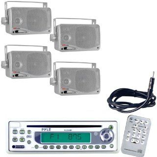 "Pyle Marine Radio Receiver, Speaker and Cable Package   PLCD9MR AM/FM MPX In Dash Marine CD Player w/Full Face Detachable Panel   2x PLMR24S 2 Pairs of 3.5'' 200 Watt 3 Way Water Proof Mini Box Speaker System (Silver Color)   PLMRNT1 22"" Weath"