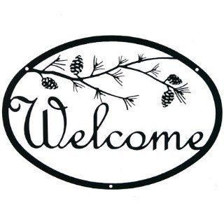 """12"""" Iron Outdoor Welcome Sign   Pine Tree Branch Design  Yard Signs  Patio, Lawn & Garden"""