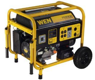 WEN 56682 7000 Watt 390cc 13 HP OHV Gas Powered Portable Generator with Electric Start and Wheel Kit  Patio, Lawn & Garden