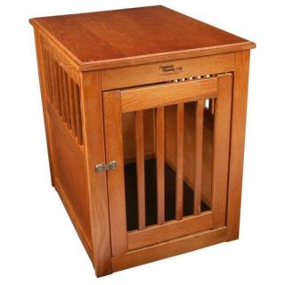Dynamic Accents Burnished Oak End Table Crate   Dog Houses