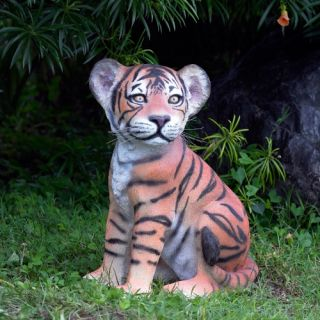 Design Toscano The Grand Scale Wildlife Animal Collection Sitting Tiger Cub Statue   Garden Statues