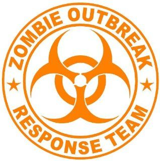 "ZOMBIE OUTBREAK RESPONSE TEAM CIRCLE   5.5"" ORANGE Vinyl Decal Window Sticker for Laptop, Ipad, Window, Wall, Car, Truck, Motorcycle   Wall Decor Stickers"