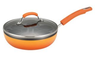 Rachael Ray Porcelain II Nonstick Egg Poacher Plus 9.5 in. Covered Deep Skillet with 6 Nylon Egg Cups   Orange Gradient   Fry Pans & Skillets
