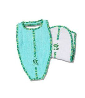 Surfer Baby Large Surfboard Shaped 100% Cotton Baby Bib and Burp Cloth Set (Green)  Baby