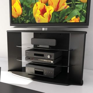 Sonax RX 4500 Rio 45 in. Midnight Black TV Stand with Two Glass Shelves   TV Stands