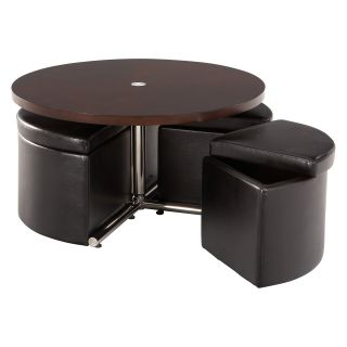 Standard Furniture Cosmo Adjustable Height Round Wood Top Coffee Table with 4 Storage Ottomans   Coffee Tables