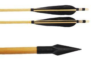 Buffalo Black Feather Wooden Shaft Hunting Arrows with A 803 arrowhead 150 Grain Fletching Archery 6 Pcs  Wood Arrows  Sports & Outdoors