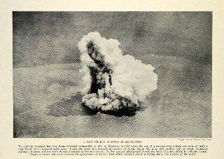 1934 Print Indonesia Sunda Strait Krakatoa Eruption Lava Volcanic Island Smoke   Original Halftone Print
