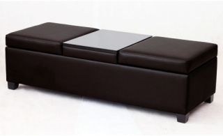 Mulitfunctional Storage Ottoman Bench with Tray Table   Brown   Ottomans