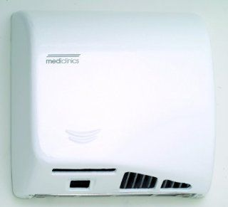 Saniflow M06A Speedflow Automatic Hand Dryer Steel White Epoxy Finish, 1/3 HP Motor, 4.200   8.200 R.P.M., 900 W (450 + 450 W) Heating element, 36 58 CFM Effective airflow, 43 70 CFM Free airflow, 64 70 dB Noise level at 79'', 4.920  9.840 LFM Air