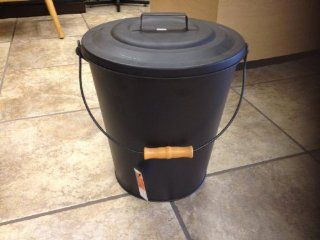 Pleasant Hearth Black Fireplace Wood Stove Ash Coal Bucket with Lid 843   Cleaning Buckets