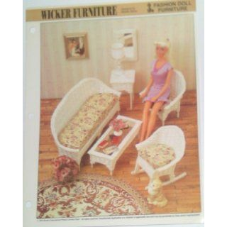 Wicker Furniture   Fashion Doll Furniture   Sofa, Coffee Table, Mirror Frame, Console, Chair, Rocking Chair   Plastic Canvas Patterns (One Design for One Set): Books