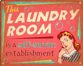 """Laundry Room """"Self Service"""" Retro Sign / Wall Plaque   Vintage Signs Laundry"""